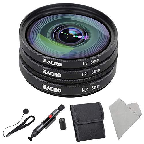 Zacro 58mm Objektiv Filter Set(UV,ND4,CPL) Verlaufsfilter Set mit Linsenstift+ Filtertüte+Anti Verlust-Seil+ Mikrofaser Reinigungstuch