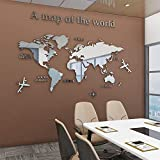 Acrylic 3D Wall Stickers World Map Wall Decal for Office Decoration (Silver, Large)