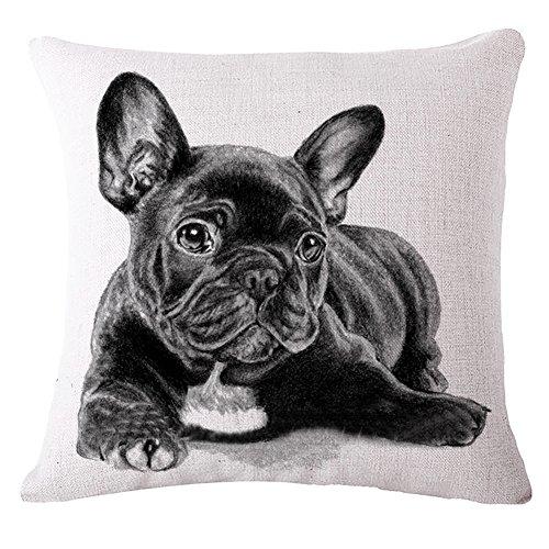 Milnut Animal Series Funda de Cojín Funda de Almohada Algodón Lino Funda de Almohada Cuadrada Funda de Almohada Bulldog Negro Tamaño 45 * 45 cm (Style-C)