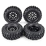 4Pcs 1.9' Metal Beadlock Wheel Rims& Rubber Tires for RC Rock Crawler TRX-4 Axial SCX10 SCX10 III AXI03007 Tamiya CC01