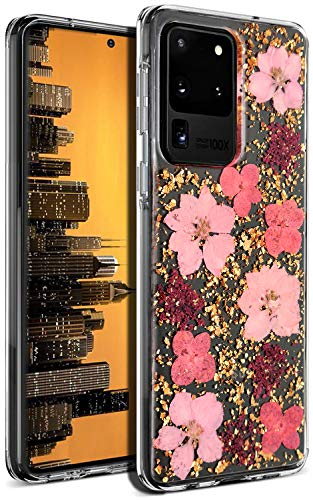 Aokebr Real Flowers Case for Samsung Galaxy S20 Ultra Pressed Dry Petals Glitter Bling Glitter Sparkle Thin TPU Soft Clear Flexible Rubber for Girl Women S20Ultra (Pink)