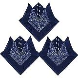 QUMAO Pack de 3 Pañuelos Bandanas de Modelo de Paisley para Cuello/Cabeza Multicolor Múltiple 100% Algodón para Mujer y Hombre (Pack de 3; Azul oscuro)
