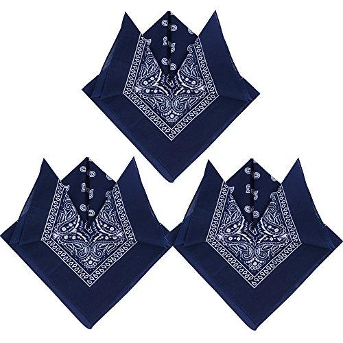 QUMAO QUMAO (100% Baumwolle) 3stk, 4stk, 6 stk Paisley Bandana Halstuch 55 x 55 cm Kopftuch Armtuch Mischfarben Haar, Hals, Kopf Schal Nickituch Vierecktuch (3 Schwarzblau, 3 Stück)