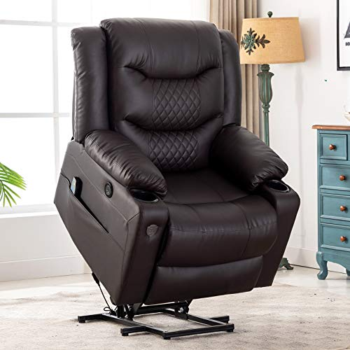 Lift Chair Electric Power Recliners for Elderly,EVER ADVANCED PU Leather Massage Heat Lazy Boy...