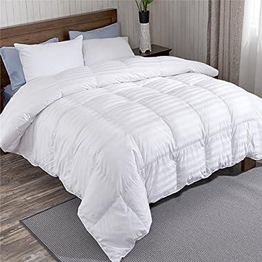 puredown All Season Down Comforter Stripe White 100% Egyptian Cotton Shell 500 Thread Count 800 Fill Power, King/Cal King