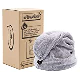 Hair Towel Wrap | Luxury Anti-Frizz Rapid-Dry Hair-Drying Turban | Ultra Soft and Quick Drying Absorbent Charcoal Fiber,...