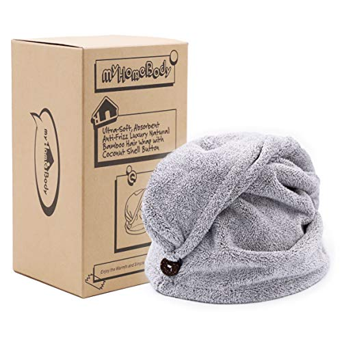 Hair Towel Wrap   Luxury Anti-Frizz Rapid-Dry Hair-Drying Turban   Ultra Soft and Quick Drying Absorbent Charcoal Fiber, with Coconut Shell Button
