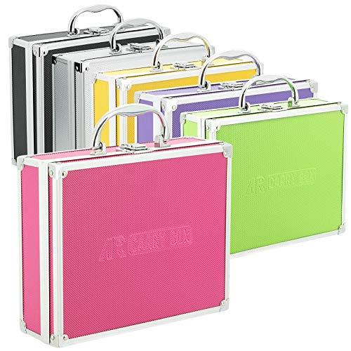 AR Carry Box® Kleiner Alukoffer Werkzeugkoffer Aluminium Koffer leer 260x210x80mm Farbe Alu/Pink