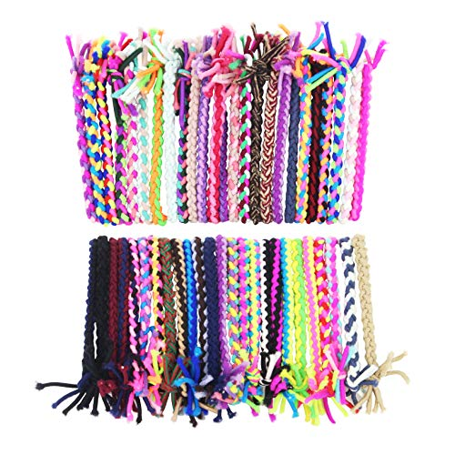 SUSULU Braided Hair Scrunchies Elastic Ties - 100pcs Hair Ropes Rubber Bands Ponytail Holders Rubber Bands Hair Accessories for Women Ladies (Random Colors)