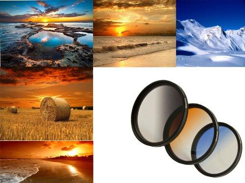 3er Verlaufsfilter Set (Blau, Grau, Orange) für Digitalkameras - Filterdurchmesser 52mm - Inkl. passendem Filtercontainer