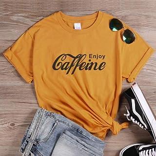 PAND Female Streetwear Casual Tees Enjoy Caffeine Letter Print T Shirt Women Funny Cola T Shirts Harajuku Basic Cotton Tshirt