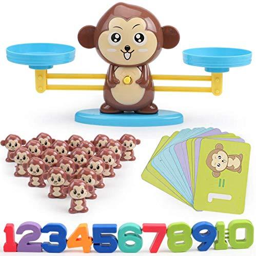 Babyhelen Affen Balance Skala Math Spiel, Montessori Mathe Spielzeug Zählen und Rechnen Lernspielzeug, Cartoon Tier Waage Spielzeug für Kinder ab 3 Jahhre Alt