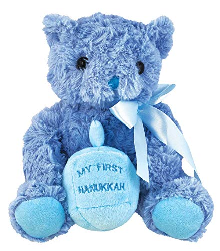 Aviv Judaica Hanukkah Supper Plush Teddy Bear with Dreidel - My First Hanukkah - Blue