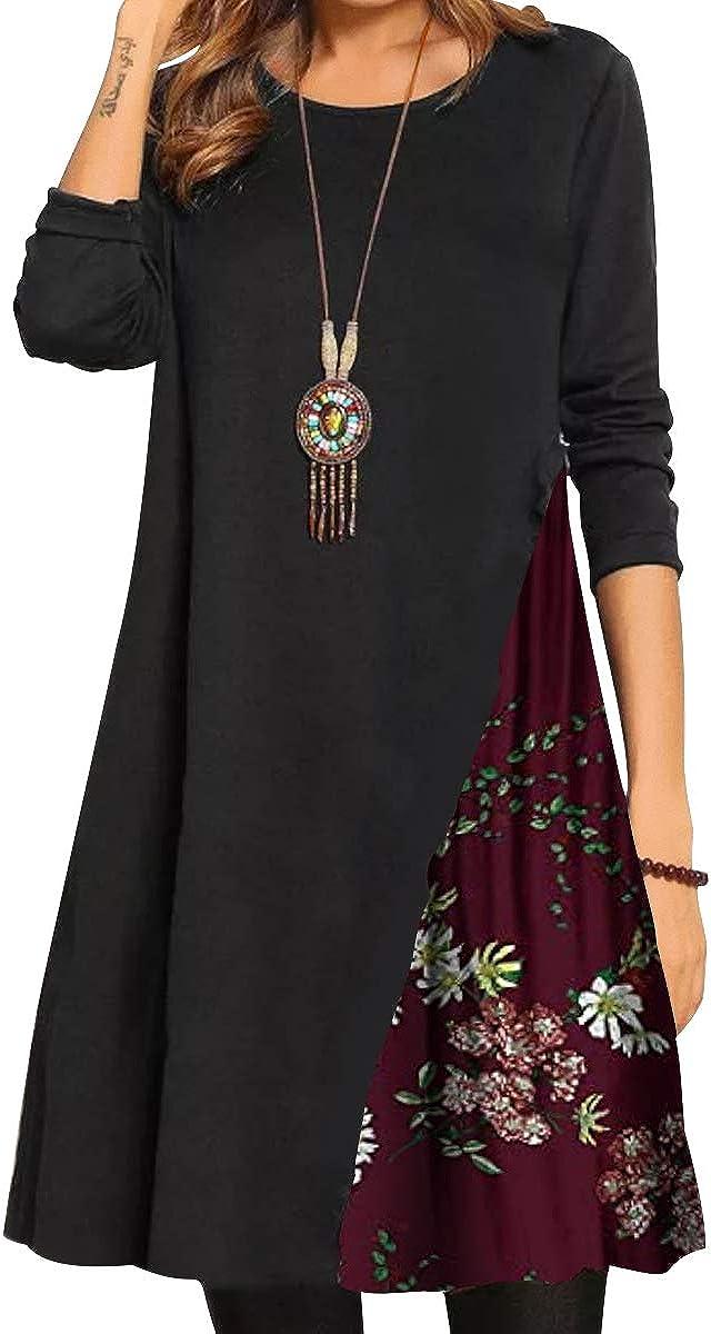 BONNY BILLY Vestito Donna Invernale Casual Elegante Stampa Floreale Corto Manica Lunga