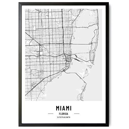 JUNOMI® Miami Póster XL blanco y negro  DIN A2  decoración moderna para el salón  cuadro de pared de Miami  sin marco  mapa de la ciudad de Miami  idea de regalo perfecta