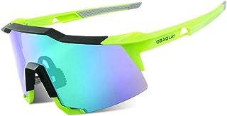 WOZUIMEI Gafas de Ciclismo Gafas de Sol de Ciclismo Polarizadas Gafas de Sol de Ciclismo Polarizadas Diseño de Marco Superligero para UnisexVerde neón