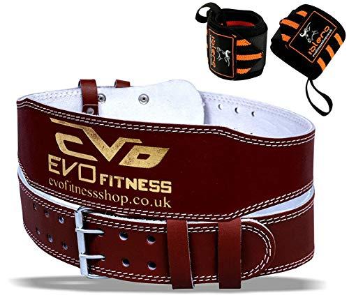 """EVO Fitness 4"""" Cuir Pur Gym Ceinture haltérophilie Sangles Support de Dos Bandeau Bodybuilding - Marron, Large"""