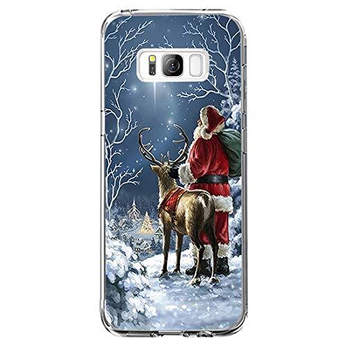jeeri Compatible con Samsung Galaxy S8 Plus Funda Navidad Silicona 360 Protector Dibujos Cover TPU Suave Case...