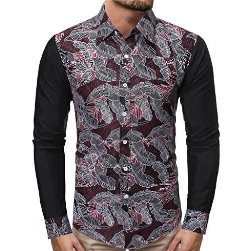 Auifor herenmode persoonlijkheid Stitching Printed hemd-blouse met lange mouwen
