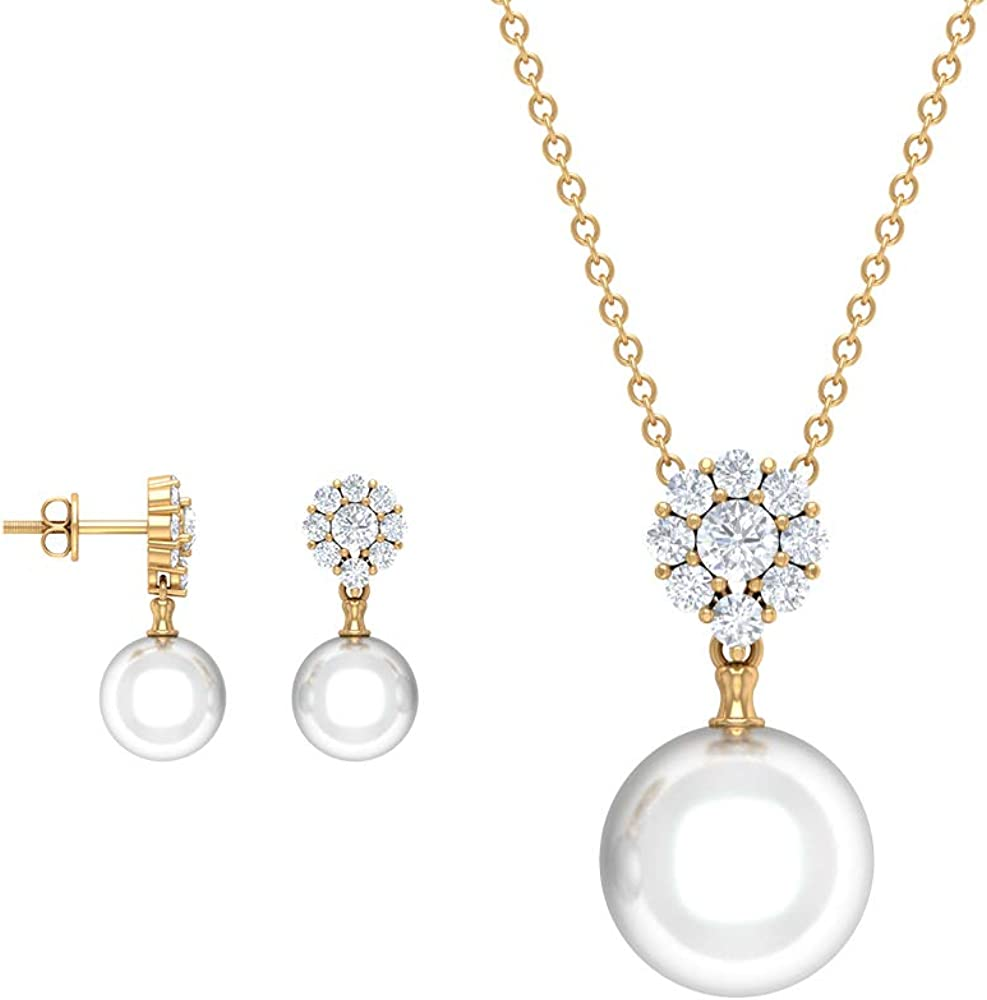 Pearl and Diamond Sale Popular Jewelry Set CT 16.96 Pendant Earring Gold