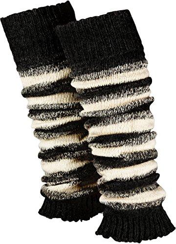 Piarini 1 Paar geringelte Stulpen Damen - warme Bein-Stulpen in Strick - Wolle in One-Size Schwarz-Weiß