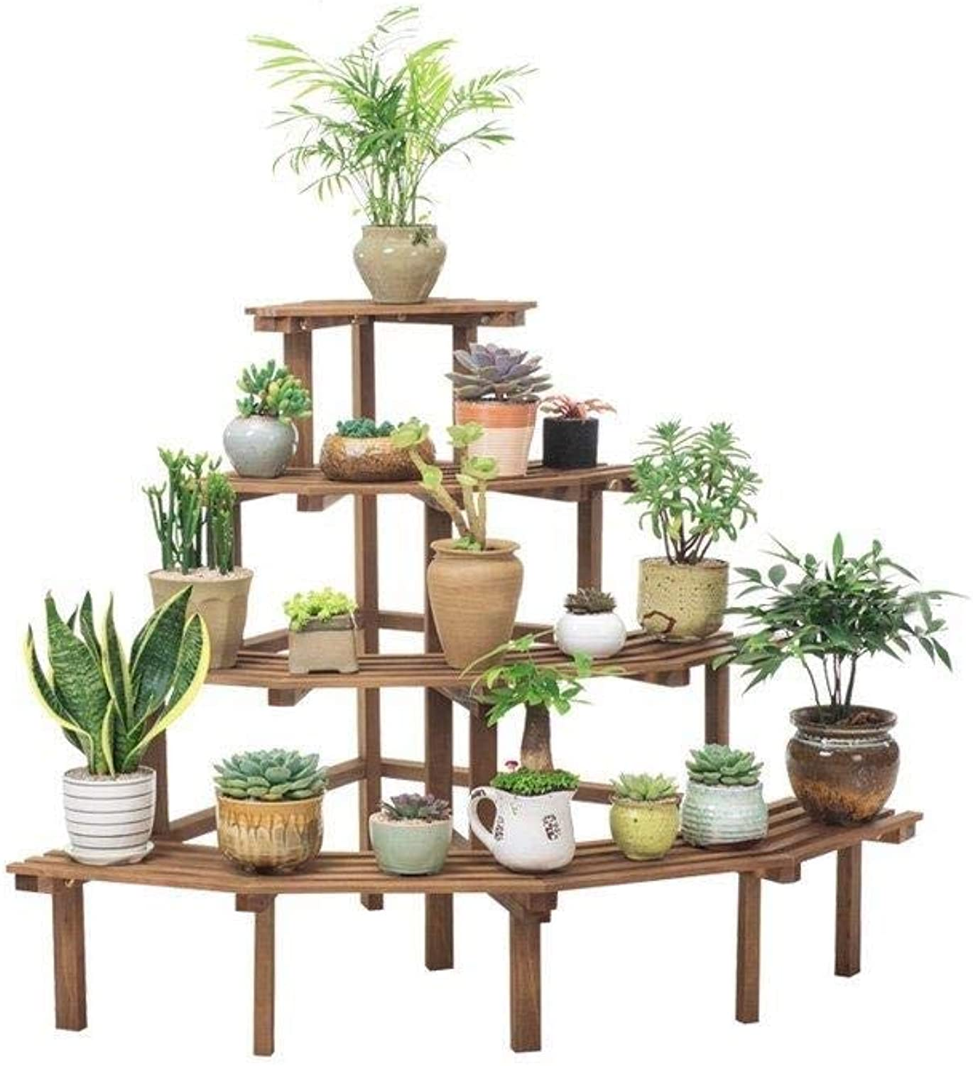 Flower Stand-Multi-Layer Wooden Corner Multi-Function Rack Flower Pot Display Stand, Plant Storage Rack (color   Brown, Size   60cm x 60cm x 80cm)