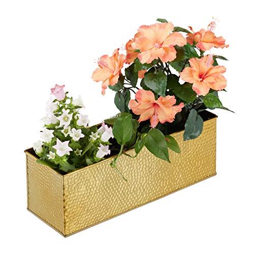 Relaxdays Blumenkasten für Innen, Pflanzkübel, Metall Kübel für Blumentöpfe und Kräuter, rechteckiger Blumenkübel, gold