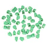 50Pcs 2 Pin Universal Screw Terminal Block Connector 2.54mm PCB Pitch Green Screw Block Connector 50 Set Mount Terminal Block Connector