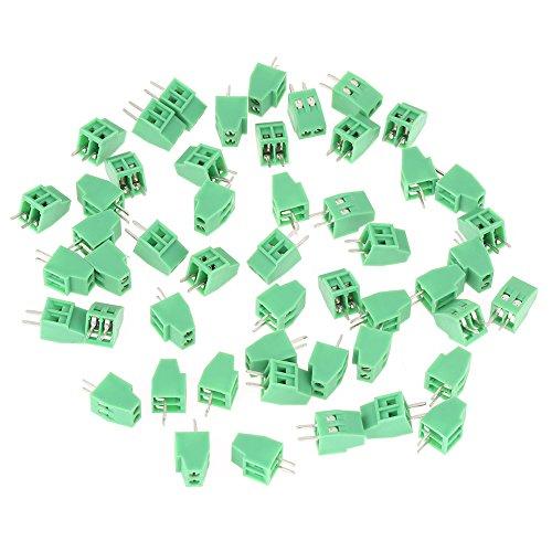 Filfeel Anschlussblöcke, 2-polig, 2,54 mm, Raster, grün, P-CB, Universal, Schraubklemmenblock-Steckverbinder, 50 Teile/Satz