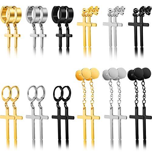 12 Pairs Cross Earrings Stainless Steel Cross Hoop Earrings Dangle Hinged Earrings for Men Women Ear Jewelry