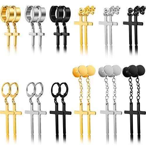 12 Pairs Cross Earrings Stainless Steel Cross Hoop Earrings Dangle Hinged Earrings for Men Women Ear Jewelry