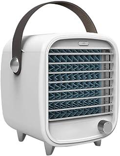 DressLksnf Portable Led Air Conditioner Small USB Desktop Cooling Fan Built-In Ice Box Mini Refrigerador de Aire PequeñO Ventilador de Aire Acondicionado de RefrigeracióN con Luz Nocturna
