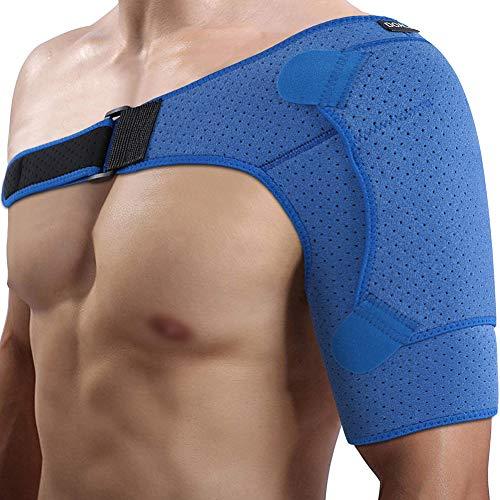 Doact Neopren Verstellbare Schulterbandage für Verletzungsprävention, verschobenes AC-Gelenk, gefrorene Schulterschmerzen, arthritische Schultern, passt für beide linke rechte Schulter (S/M)