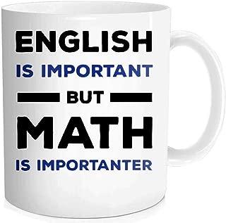 Waldeal 1 Piece, Math Teacher Mug, English Is Important But Math Is Importanter. Funny Coffee Mug, Birthday Halloween Christmas Gift,11-OZ Fine Bone Ceramic White