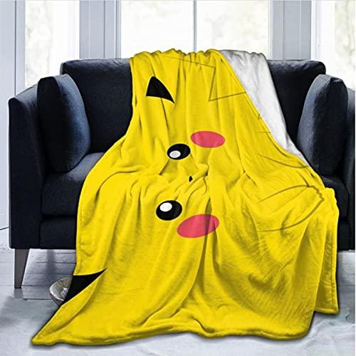 haoshuang Couverture pépinière Polyvalente Bikachu Literie Camping Le Dessin animé Beau Jeté Pique-Nique Durable Cartoon Siesta Park Soft Anime Pokemon Couvre-lit canapé