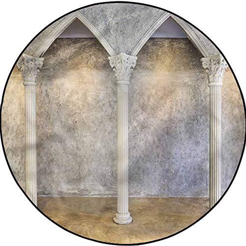 Pillar Country Cottage Round Rug Yoga Decor Floor Cushion Antique Ancient Interior Diameter 48 in(122cm)