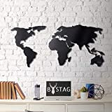 Tubibu World Map - Cuadro decorativo para pared, diseño de mapa del mundo, 100% metal 2D, escultura, grande y ancho, tamaño (23.6 x 47.2') – Para colgar en la pared para salón, dormitorio, dormitorio