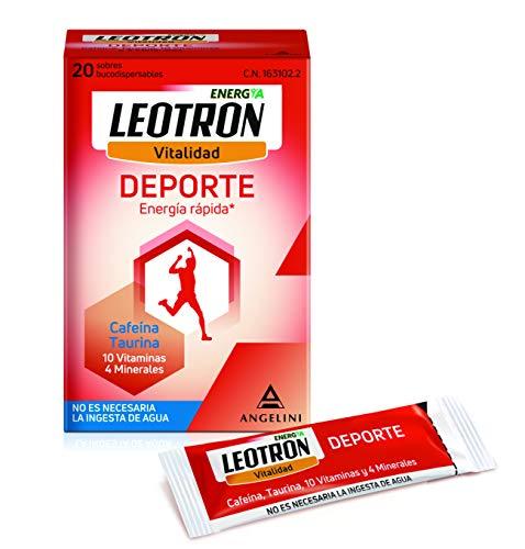 LEOTRON Deporte, 20 Sobres, Complemento alimenticio con cafeína, taurina, 10 vitaminas y 4 minerales