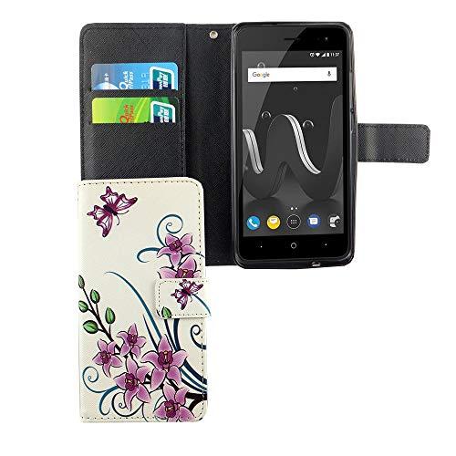 König Design Handyhülle Kompatibel mit Wiko Jerry 2 Handytasche Schutzhülle Tasche Flip Hülle mit Kreditkartenfächern - Lotusblume Pink Weiß