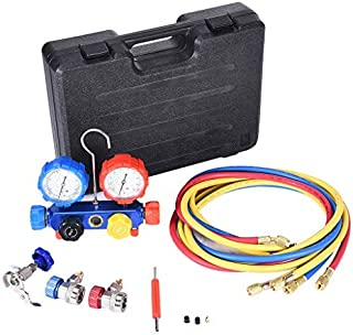 4 Way AC Diagnostic Manifold Gauge Set,Professional Manifold Vacuum Gauge Set,for R134a R410a R22 A/C AC HVAC Refrigeration,Luminum Alloy Manifold Built In Sight Glass,For Automobiles And Home Air Con