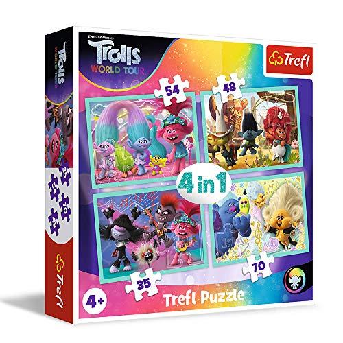 Trefl World Tour, Trolls 3 Von 35 bis 70 Teilen, 4 Sets, für Kinder AB 4 Jahren Puzle. (34336)
