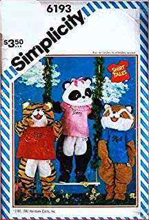 Simplicity 6193 Animal Costumes for Girls and Boys, Tiger, Fox and Panda, Transfer Included, Vintage Sewing Pattern Check Listings for Size