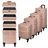 Byootique 4in1 Rose Gold Rolling Makeup Train Case with Mirror Cosmetic Organizer Traveling Storage Artist Trolley 360° Swivel Wheels