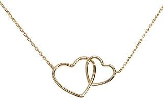 LuckyLy – Collares Finos Mujer – Collar Corazón de Mujer Emma – Dije de Corazones Entrecruzados – Cadena y Dije Baño de Oro, Oro Rosa o Plata