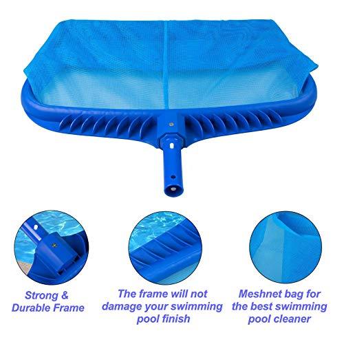 Pool Skimmer Net Heavy Duty Leaf Rake Cleaning Tool, Fine Mesh Net Bag Catcher Fine Mesh Netting, Pond Find Mesh Leaf Skimmer Rake Net for Removing Leaves