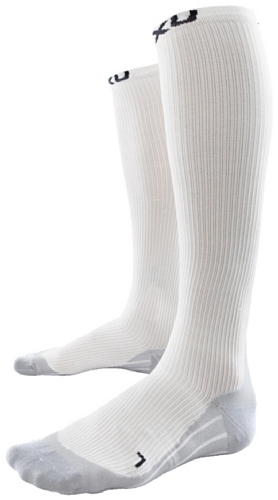 2 x u Chaussettes de Compression pour Homme Race Socks S Blanc/Gris