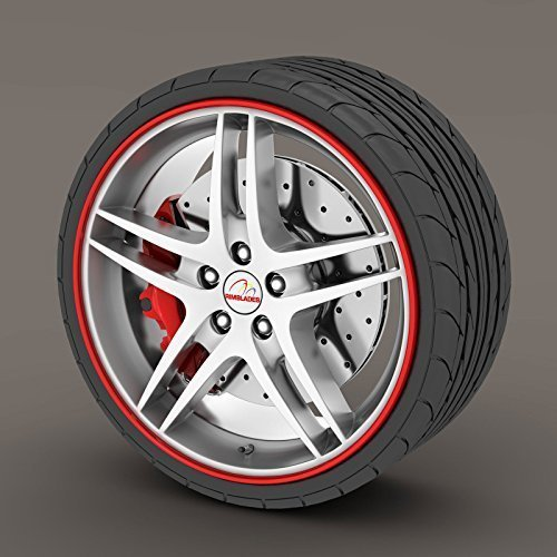 Red Rimblades Alloy Wheel Edge Ring Rim Protectors Tyres Tire Guard Rubber Moulding