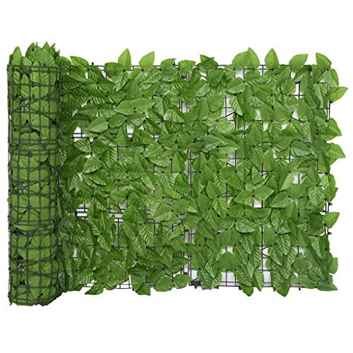 vidaXL Toldo para Balcón Parasol Pantalla Privacidad Malla Ocultación Patio Jardín Terraza Protección Impermeable con Hojas Verde 600x75 cm