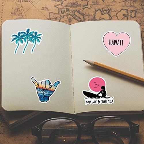 ROZO Hawaii Aufkleber 50 Stück, Wasserdicht Vsco Graffiti Vinyl Stickers Aesthetic Decals Pack für Auto Motorrad Laptop Skateboard Fahrrad Notebook Gitarre Gepäck MacBook iPad und mehr (Multicolor)