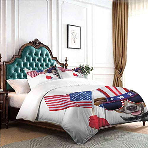dsdsgog 3pcs Bedding Set 4th of July,Patriotic American Breed Dog Celebrating with Flag Hat and Old Glory Dog Tag,Multicolor 78x78 inch Wrinkle Fade and Stain Resistant